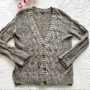 VINCE Oversized Cotton Knit Cardigan Sweater MED